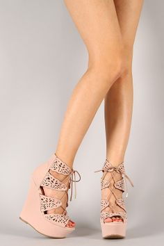 Dollhouse Bittersweet Perforated Lace Up Platform Wedge
