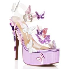 Purple Metallic Garden Flower Heels (€75) ❤ liked on Polyvore featuring shoes, pumps, heels, patent leather pumps, patent pumps, platform shoes, clear heel shoes and purple shoes