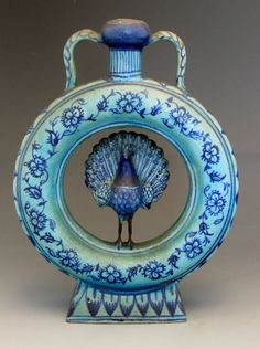19C Persian Qajar Art Pottery Vase w/ Peacock Round Form Blue Glaze