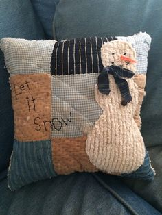"""Snowman Pillow made from Vintage Quilt -""""Let it Snow"""""""