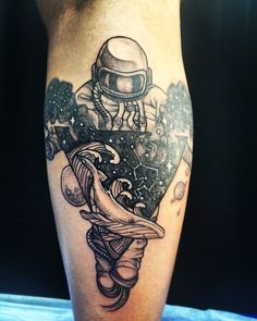 Spaceman, tattoo, geometric, whale, space