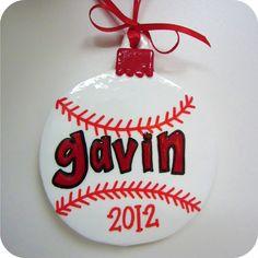 "Holiday Christmas Ornament - ""Baseball"" - Hand-painted Personalized Boy Sports. $12.00, via Etsy."
