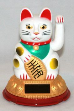 "Solar Powered Lucky Beckoning Waving Cat Maneki Neko 5""tall Solar Powered http://www.amazon.com/dp/B00EBFUMDU/ref=cm_sw_r_pi_dp_kBxyub12ZQDW3"