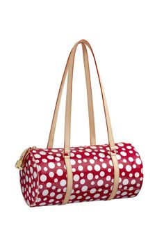 Yayoi Kusama and Louis-Vuitton Papillon Vernis bag in red Dots Infinity - it's like a Minnie Mouse print, very fun
