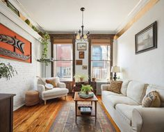 Located in a six-story walk-up that was built in this East Village one-bedroom has still managed to hold on to some of the original details of the building. Rustic Contemporary, Modern Rustic, Cozy Living Rooms, Apartment Living, Rustic Furniture, Living Room Furniture, East Village, One Bedroom, Home Projects