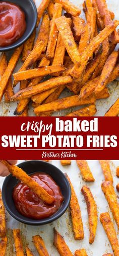 The Best Crispy Baked Sweet Potato Fries Recipe! With my secret ingredient and helpful tips, you'll be making perfectly seasoned, crispy homemade sweet potato fries. How to make easy and healthy oven baked sweet potato fries with the best seasoning! Sweet Potato Fries Healthy, Homemade Sweet Potato Fries, Making Sweet Potato Fries, Crispy Sweet Potato, Baking Sweet Potato, How To Cook Sweet Potato, Sweat Potato Fries, Sweet Potato Wedges Oven, Sweet Potato Fries Recipe Baked