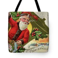 Antique Santa Merry Christmas tote bag