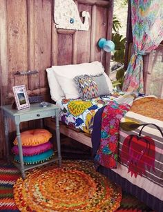 Boho Bedroom. Just needs the bed to be queen!