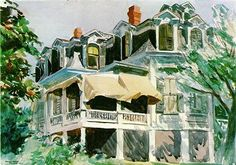 """""""The Mansard Roof"""" (1923)  13 3/4"""" x 19"""" - Watercolor on paper  The Brooklyn Museum, New York  Edward Hopper"""