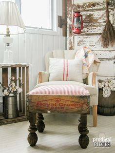 Farmhouse Repurposed Foot Stool by Prodigal Pieces | www.prodigalpieces.com