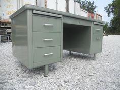 FREE SHIPPING Vintage Metallic Green Metal Tanker Desk Steelcase Mid Century Modern