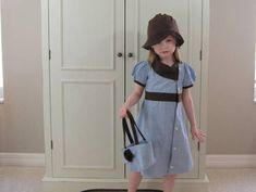 Upcycled man's button up shirt and purse (plus hat) - CLOTHING | 1000 Sewing Clothes, Diy Clothes, Little Girl Dresses, Girls Dresses, Couture Bb, Shirt Refashion, Toddler Dress, Sewing For Kids, Kind Mode