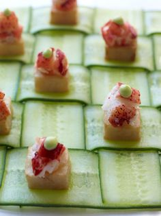 Weave cucumber slices together to create a simple, sophisticated serving platter for appetizers and vegetables.