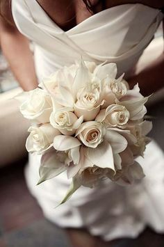 Creamy roses with callas and orchids for brides bouquet. Was then thinking each of my three bridesmaids would have a bouquet of one of the flowers that made my bridal one. Floral Wedding, Wedding Flowers, Wedding White, White Bridal, Bouquet Wedding, Rose Wedding, Bridal Bouquet White, Trendy Wedding, Dream Wedding