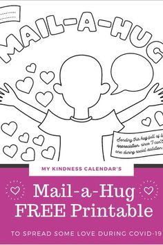 With this free printable coloring sheet and card, kids can send a hug in the mail to someone they are missing during Covid-19! A great activity for kids during home-schooling and at home learning to promote kindness, gratitude and social emotional learnin Kindness Projects, Kindness Activities, Craft Activities For Kids, Kid Crafts, Mental Health Activities, Kids Mental Health, Free Printable Coloring Sheets, Fun Mail, Gentle Parenting