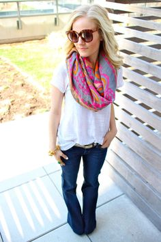 Never know what to wear? Match a solid color shirt with a scarf. A quick and easy outfit to create.  U can wear with  jeans or shorts depending on the season.