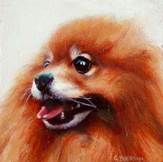 Kayleigh- Portrait of my girlfriend's Pomeranian, painting by artist Gerard Boersma