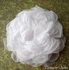 Wedding Hair Flower- White  White Peony  RainwaterStudios   $18.00