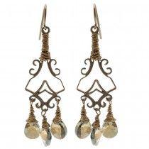 Retired - Crystal Bronze Shade Etruscan Earrings