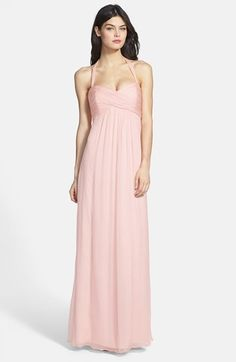Maid of Honor in our accent color  Amsale Chiffon Halter Gown available at #Nordstrom