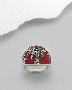 Red Enamel Marcasite Palm Tree Dome Ring