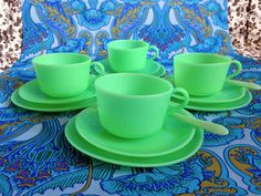 Vintage plastic Green Tea Set trios 1960s 1970s 1980s unusual lime neon bright colour Kids Play Camping cup saucer side plate mint spoon lot