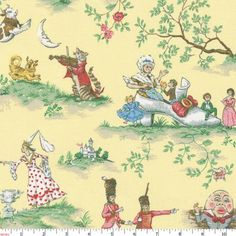 Yellow Nursery Rhyme Toile Fabric by Carousel Designs.