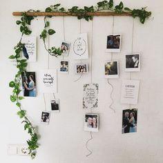 I really want to make this in my new room!- Ik wil dit heel graag maken in mijn nieuwe kamer! Dit ziet er super leuk uit:) I really want to make this in my new room! This looks super nice :] - Decoration Photo, Decoration Bedroom, Decor Room, Travel Room Decor, Floral Bedroom Decor, Polaroid Decoration, Boho Bedroom Diy, Bedroom Plants Decor, Art Decor