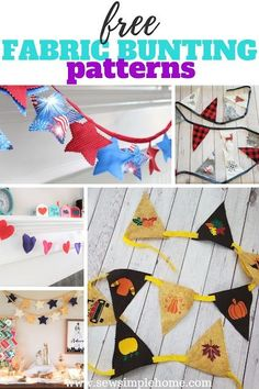 Create your own custom holiday bunting in triangle or star form with these free holiday bunting templates. Bunting Template, Bunting Tutorial, Bunting Pattern, Make Bunting, Star Template, How To Make Banners, Fabric Bunting, Templates, Halloween Sewing