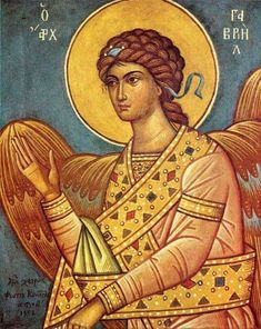 Photios Kontoglou - Arch Angel Gabriel by the hand of Kontoglou Byzantine Icons, Byzantine Art, Religious Icons, Religious Art, I Believe In Angels, Archangel Michael, Angels In Heaven, Art Icon, Guardian Angels