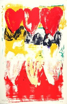 Nine Tulips Red Field Oplage - Kunstuitleen Tulips, Abstract, Dutch, Artwork, Painting, Clay, Summary, Work Of Art, Dutch Language