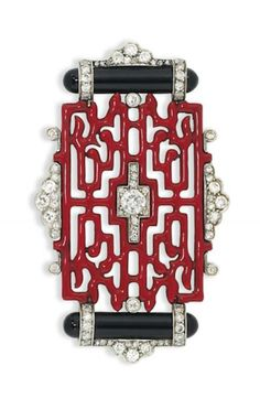 Art Deco enamel and diamond brooch. Of Oriental design, composed of a red enamel openwork panel, with old brilliant-cut diamond centre, mounted between polished onyx baton accents within a further diamond frame. Art Deco Jewelry, Modern Jewelry, Bling Jewelry, Jewelry Design, Jewellery Supplies, Coral Jewelry, Cartier Jewelry, Antique Jewelry, Vintage Jewelry