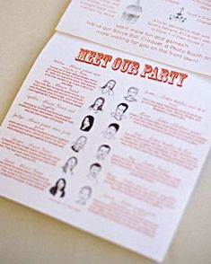 A program featuring sketches and bios of the bridal party.