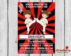 Karate Invitation Karate Birthday by StrawberryPartyPrint on Etsy