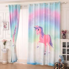 Colorful Rainbow Horse Patterned Graceful Curtains Cute Curtains, Kids Curtains, Colorful Curtains, Drapes Curtains, Drapery, Braid Buns, Side Braid With Bun, Horse Pattern, Blackout Curtains