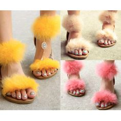 Ankle Strap Fur Flat Sandals