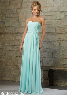 Cheap and Australia Seafoam A-line Strapless Ruched Belt Chiffon Floor Length 2015 Spring Bridesmaid Dresses 713 from Dresses4Australia.com.au