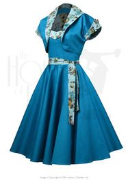 50s Prom Swing Dress Set - Aqua Flora