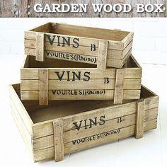 ウッドボックス BOX 木箱 ガーデン アンティーク調 ビンテージ ナチュラル インテリア。COVENT GARDEN (コベントガーデン) ウッドボックス3点セット 大中小 SML ガーデン 木箱