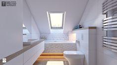 łazienka biała - Mała łazienka na poddaszu w domu jednorodzinnym z oknem, styl nowoczesny - zdjęcie od APP TRENDY Autorska Pracownia Projektowa