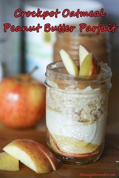 Crockpot Oatmeal Peanut Butter Parfait #recipes #slowcooker