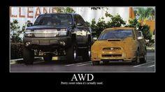 Poser, don't be one. A lifted truck versus an AWD subaru (correction?) that really goes off-roading. Car Jokes, Truck Memes, Funny Car Memes, Car Humor, Subaru Baja, Subaru Forester, Subaru Impreza, Wrx Sti, Subaru Meme