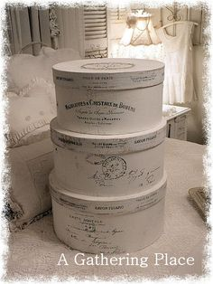 French Farm House Tattered White Hatboxes ~ love these~❥