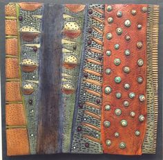 ~VICKI  GRANT 13225 - Botanical  Porcelain & mixed media on slate   16 x 16 in