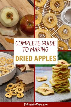 """Dehydrating apples is so very easy and makes for a great snack. There are a lot of ways to dehydrate apples so don't get hung up on dehydrating apples """"the right""""way – as long as the moisture is removed they'll store well. In this complete guide to making dried apple rings and apple chips learn how to dry apples in the oven or dehydrator. #preserving food #fromscratch #homesteading #simpleliving"""