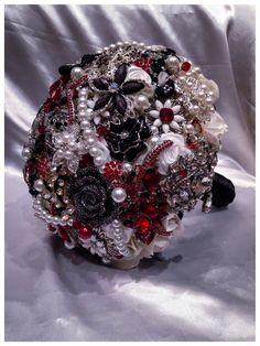 Red Black White Silver Wedding Brooch Bouquet. by NatalieKlestov