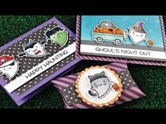 """Lawn Fawn """"Booyah"""" Stamp Set & Dies + Video for 3 Cards (on LF & Autumn Cards)"""