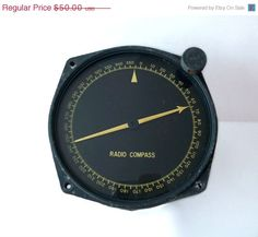 Aircraft Radio Compass Indicator Model by MargsMostlyVintage Electric Aircraft, Steampunk, Cool Items, Compass, Air Force, Buy And Sell, Model, Vintage