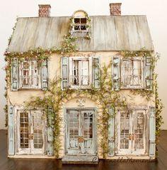 Cinderella Moments: Weekend Chateau Custom Dollhouse Done! Vintage Dollhouse, Victorian Dollhouse, Fairy Houses, Play Houses, Doll Houses, Mini Houses, Miniature Rooms, Miniature Houses, Cinderella Moments