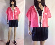 Satin Pink Crop Top. Pink Bed Jacket Pajama Top?sixcatsfunVINTAGE, #etsy #vintage #satin